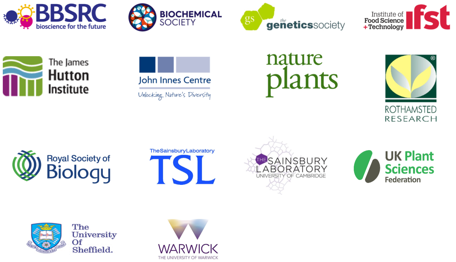 Plant science panel partners 2017: BBSRC, Biochemical Society, Genetics Society, IFST, The James Hutton Institute, The John Innes Centre, Nature Plants, Rothamsted Research, Royal Society of Biology, TSL, The Sainsbury Laboratory University of Cambridge, UK plant science federation, The University of Sheffield, University of Warwick