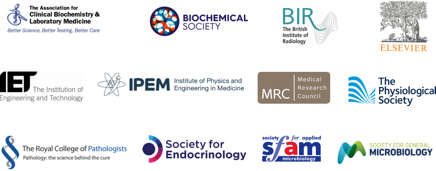 Standing up for Science partner logos: The Association for Clinical Biochemistry and Laboratory Medicine, Biochemica Society, BIR, Elsevier, IET, IPEM, MRC, The Physiological Society, The Royal College of Pathologists, Society for Endocrinology, Sfam, Society for General Microbiology