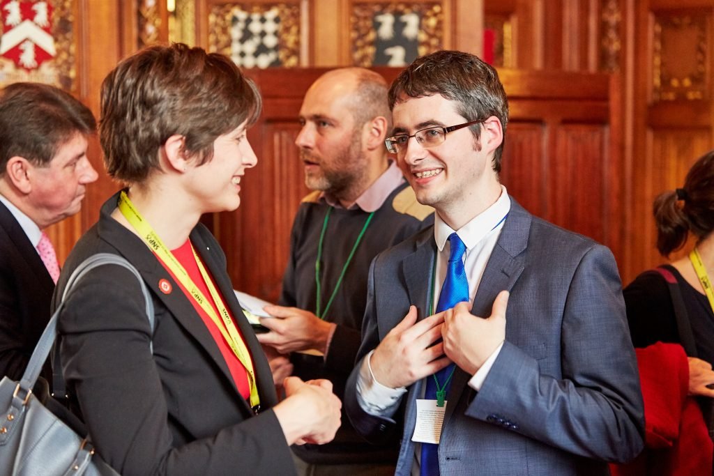 Alison Thewliss, MP talking to speaker Paul Murphy