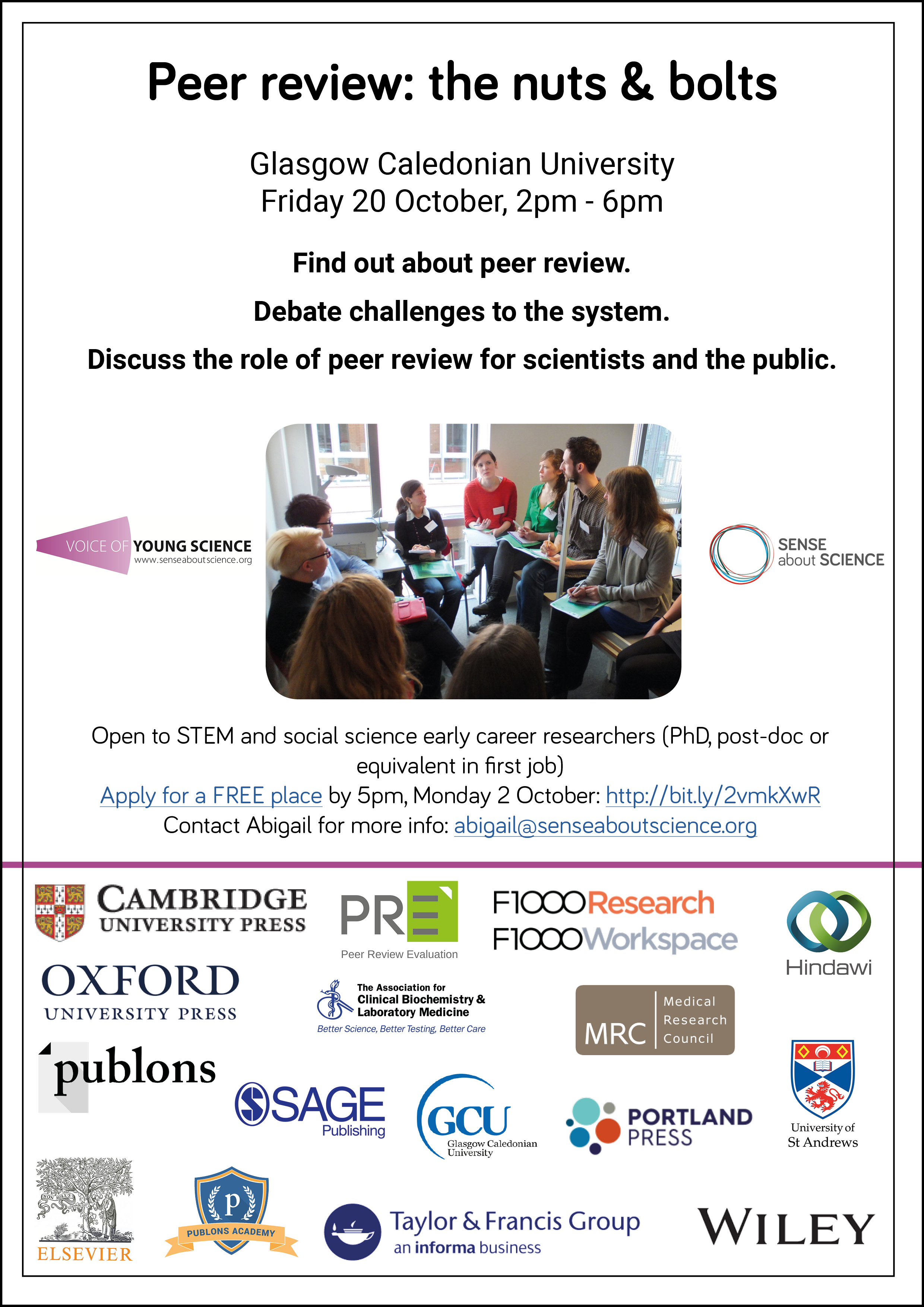 Peer review: the nuts & bolts workshop 20 October, Glasgow Caledonian University