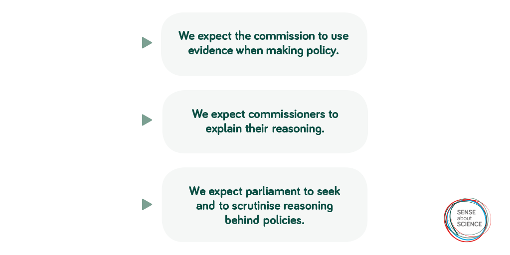 We expect the commission to use evidence when making policy. We expect the commissioners to explain their reasoning. We expect parliament to seek and to scrutinise reasoning behind policies.